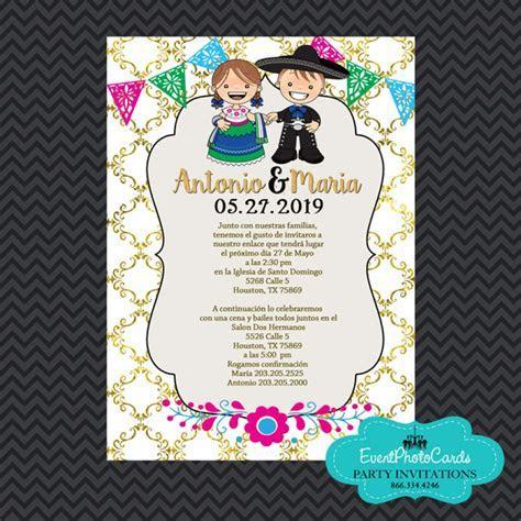Mexican Invitations Wedding   Gold, Invitaciones de Boda