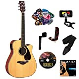 Yamaha FGX720SCA Acoustic-Electric Guitar Bundle w/Legacy Accessory Kit (Tuner, DVD, Capo and More)