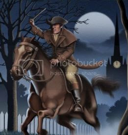 painting of a midnight rider on the eve of the Revolutionary War