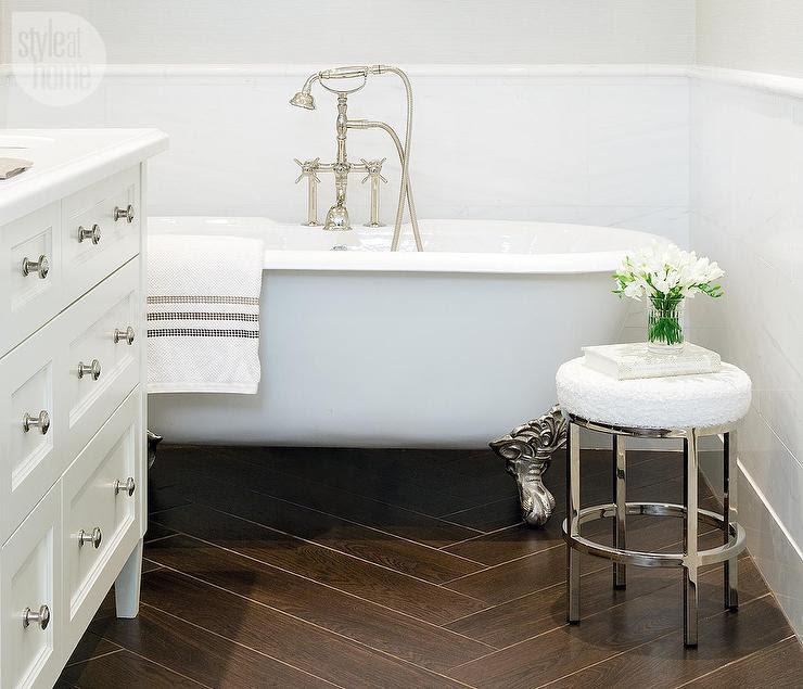 Bathroom with Porcelain Wood Like Tile Floor ...
