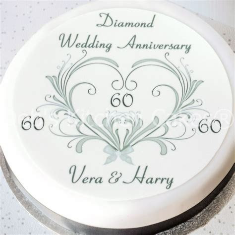 60th Wedding Anniversary Cake Topper   Personalised