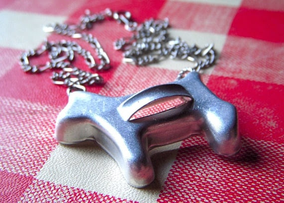 Tiny Dog Cookie Cutter Necklace Vintage 1950's - 60's Kitsch Baking Toy Assemblage Jewelry
