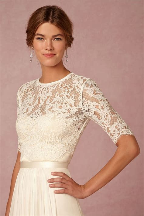 "{""Dasha"" Corded Lace Half Sleeve Bridal Topper With Jewel"