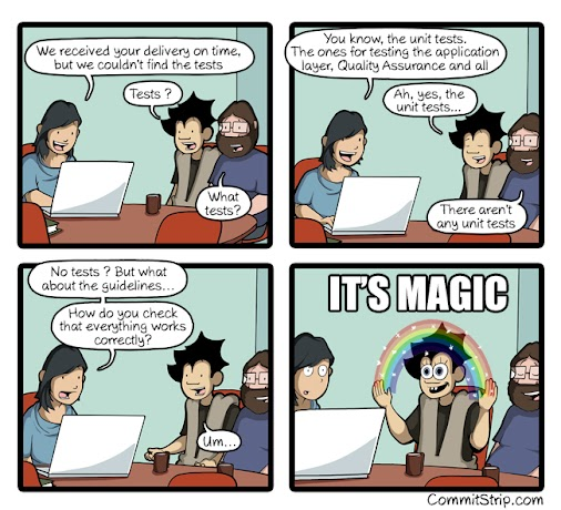 Where are the tests? #QA #tests #comic #humor #WebDev  From CommitStrip.