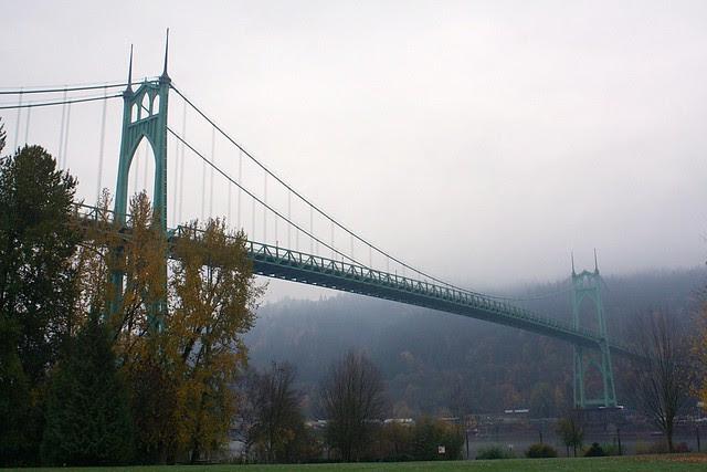 fog, st. johns bridge