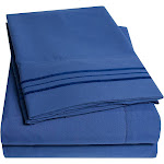 1500 Thread Count Pleated Egyptian Sheet Set by Sweet Home Collection Royal Blue, Size: Twin XL