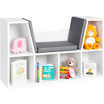 Best Choice Products 6-Cubbie Kids Bookcase with Cushioned Reading Nook, White