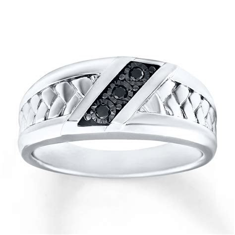Men's Wedding Ring 1/15 ct tw Diamonds Sterling Silver