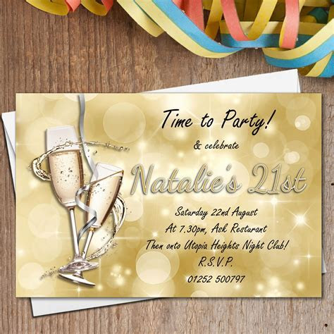 10 Personalised Gold Sparkle Champagne Birthday Party
