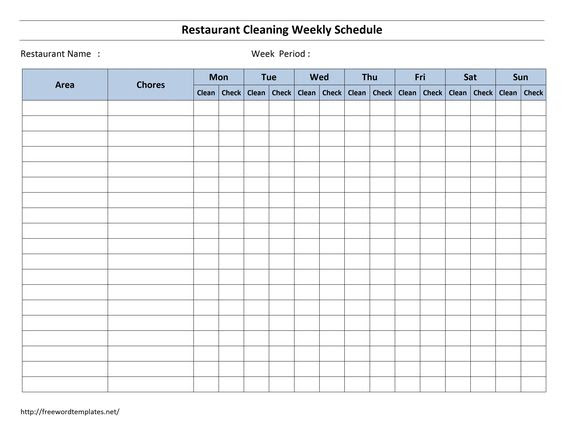 Free Cleaning Schedule Forms   excel format and payroll areas for ...