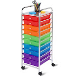 Honey-Can-Do Organization Cart - Trolley - 10 drawers - plastic, chrome plated steel - blue, purple, red, green, orange