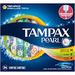 Tampax Pearl Plastic Tampons, Unscented - 34 count