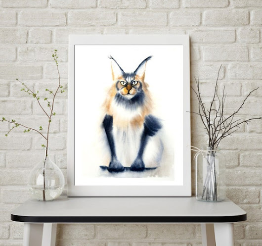Maine Coon Cat Print Watercolor Painting Kitten illustration art wall room decor funny cat art poster artwork Whimsical Cat