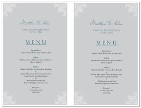 Sample Wedding Menu Card Template   Wedding Archive