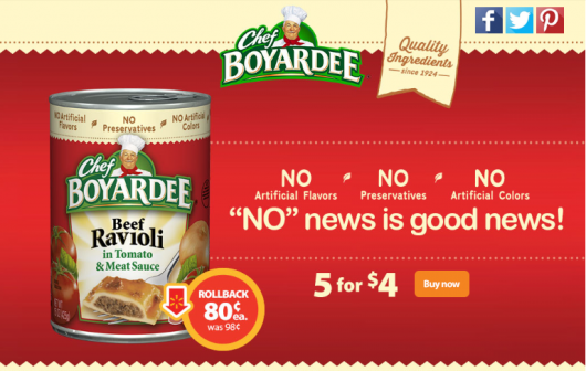 Chef Boyardee On Sale 5 for $4! #SaveOnChef