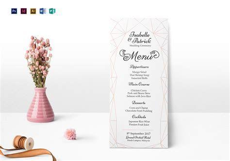 Wedding Ceremony Menu Design Template in PSD, Word