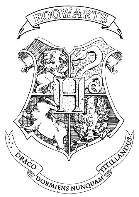 harry potter hogwarts crest books adult coloring pages