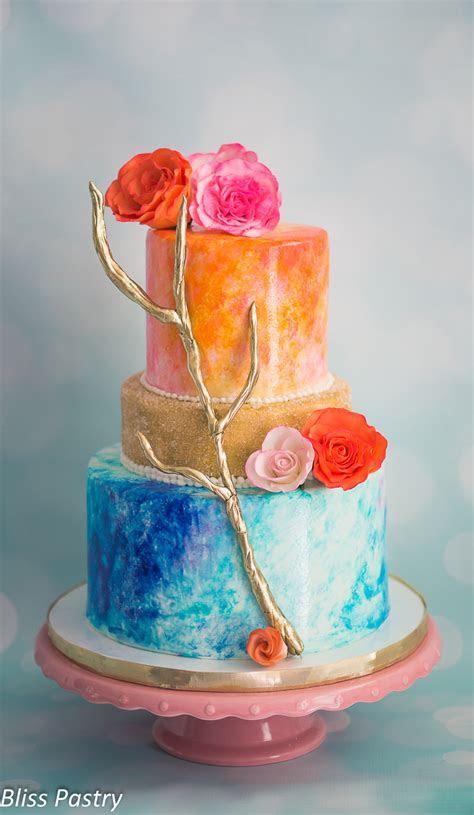 Watercolor Wedding Cake   CakeCentral.com