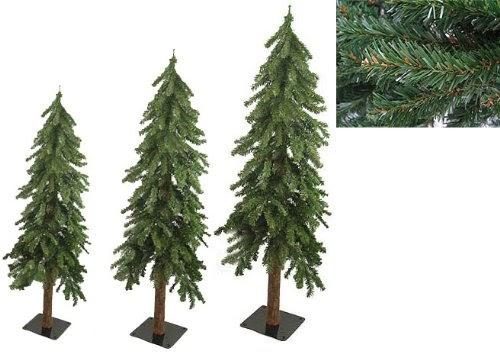 Set Of 3 Downswept Woodland Alpine Artificial Christmas