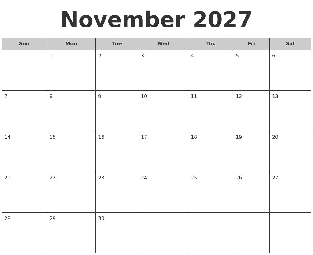 november 2027 free monthly calendar