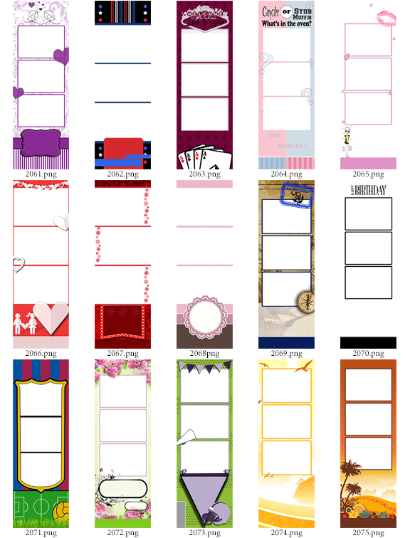 30 2x6 Photo Strip Templates Bundle C Darkroom Booth The