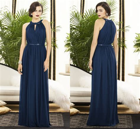 Simple Fashion Halter A Line Chiffon Navy Blue Bridesmaid