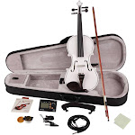 Glarry 4/4 Solid Wood EQ Violin w/ Case,Bow,Strings,Shoulder Rest,White