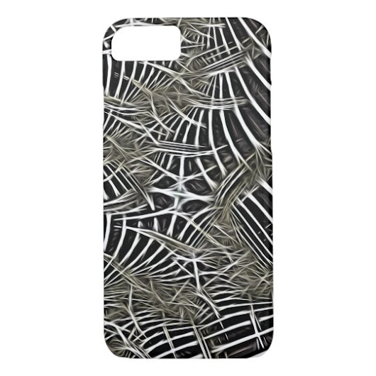 A Tangled Woven Web Black and White Fractal Art iPhone 8/7 Case