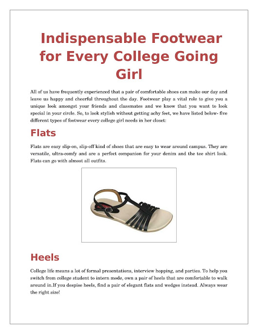 Footwear For Every Collage Going Girl