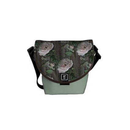 Roses on Weathered Wood Courier Bag