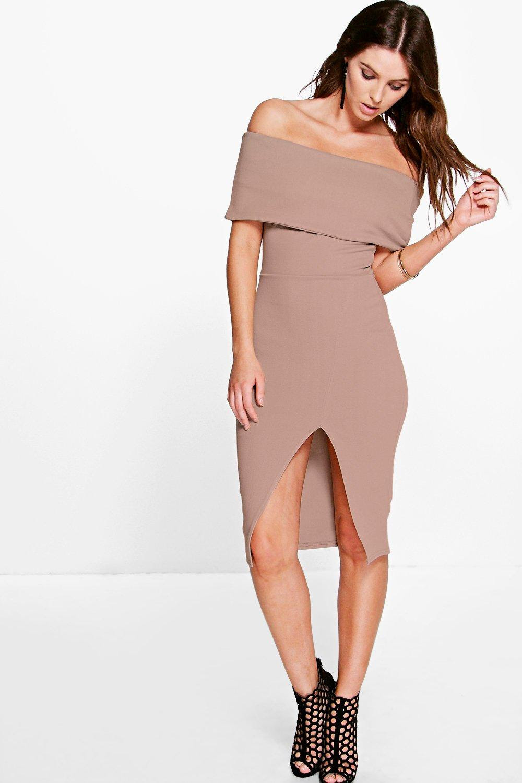 Off the shoulder fold over split midi bodycon dress clothes