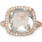 Light Green Prasiolite Ring with Cubic Zirconia Halo Rose Gold-Plated