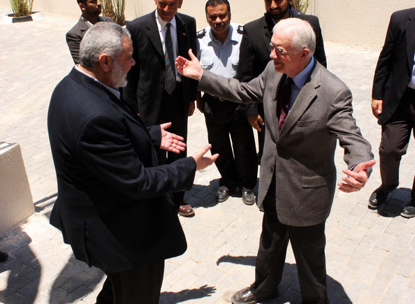 Jimmy Carter In this handout from the Hamas Government, the head of Hamas goverment in the Gaza Strip,  Ismail Haniyeh (L), meets with former U.S. President Jimmy Carter (R) June 16, 2009 in Gaza City, the Gaza Strip.  Carter is in the Gaza strip fro talks with the Hamas government about conditions to end the international boycott of the Islamic milutant group.