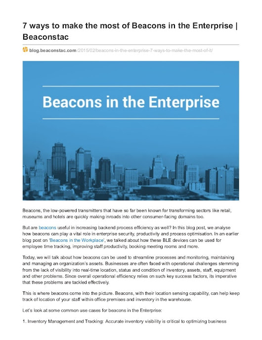 7 ways to make the most of Beacons in the Enterprise