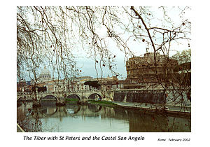 English: The River Tiber in winter with St Pet...