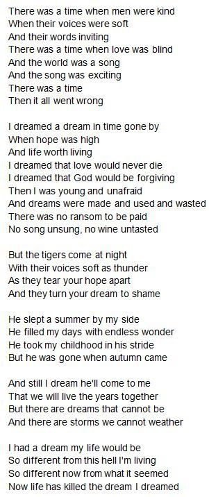 I Dreamed A Dream Of Time Gone By Lyrics
