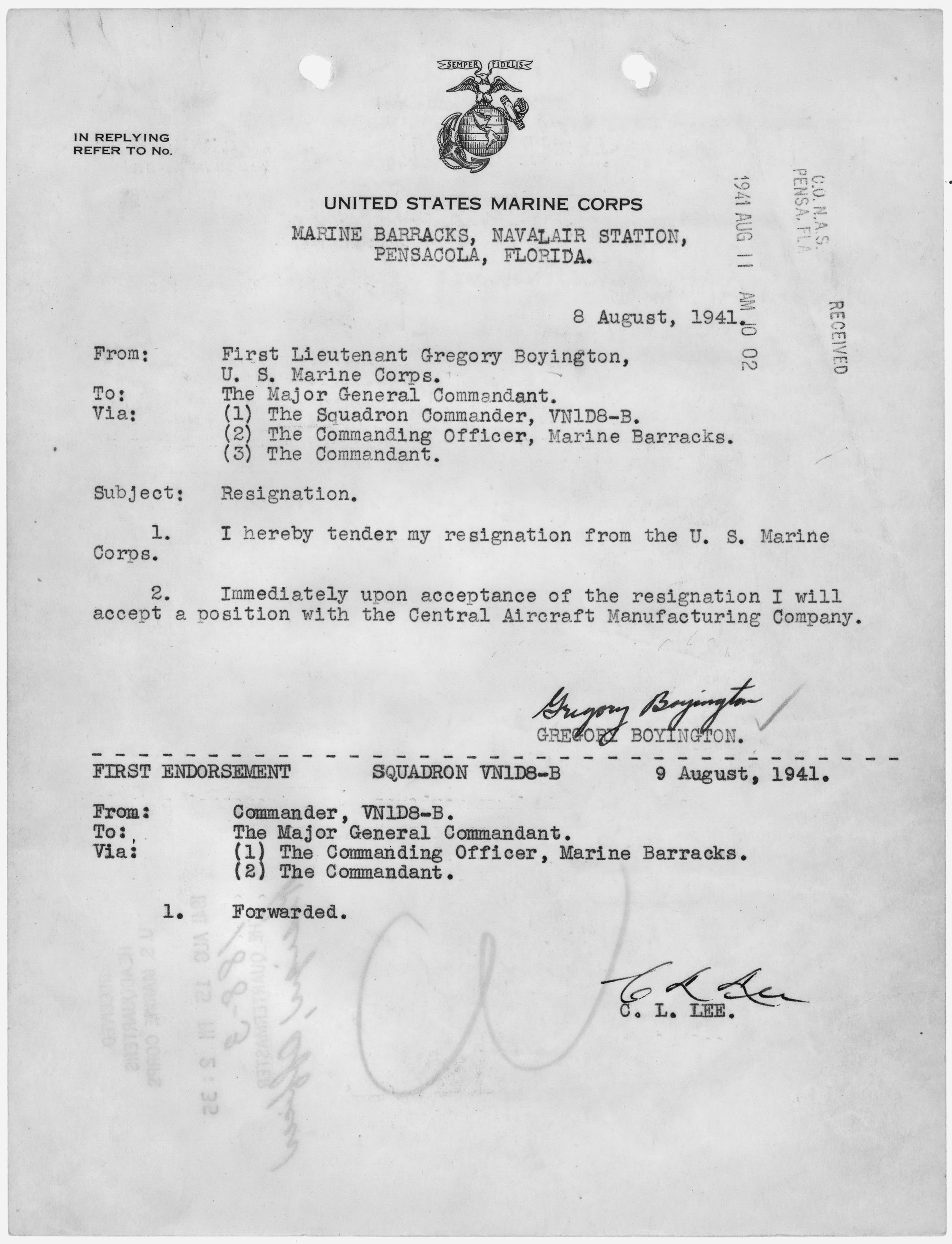 Fileletter Of Resignation From The U S Marine Corps To