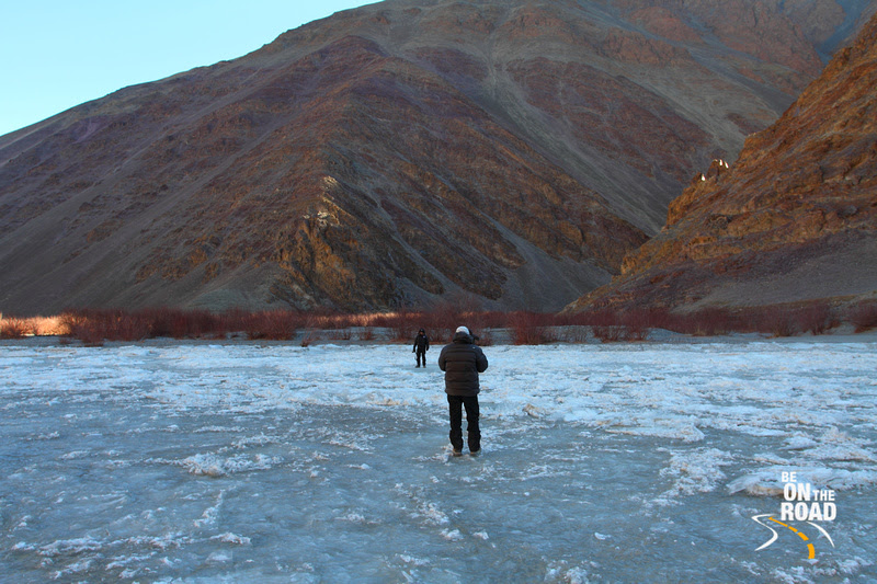 Standing in the middle of the frozen Indus river