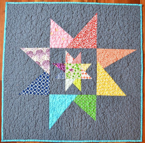 Liberated (emergency) Baby Quilt - back - wonky stars