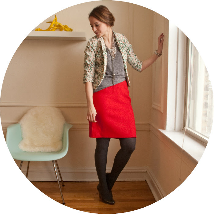 dash dot dotty, print jacket, red wool pencil skirt, red and pink, february outfits, what to wear with, winter business casual, wear to work, creative young professional, skirt and jacket, colorful