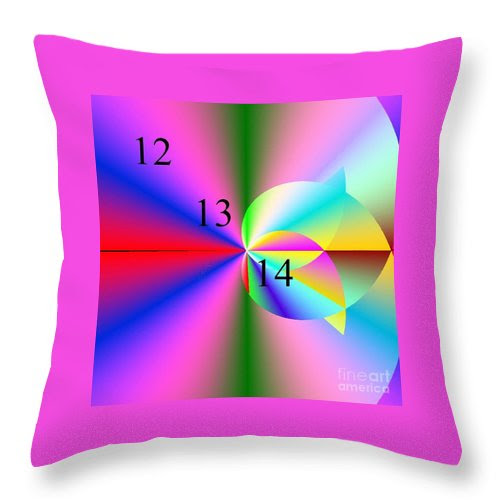 12/13/14 Rainbow Tulip Throw Pillow featuring the digital art 12/13/14 Rainbow Tulip by Michael Skinner