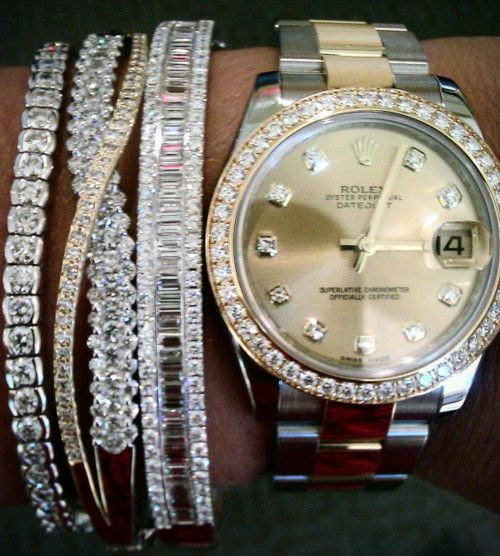 diamonds and rolex arm candy!!