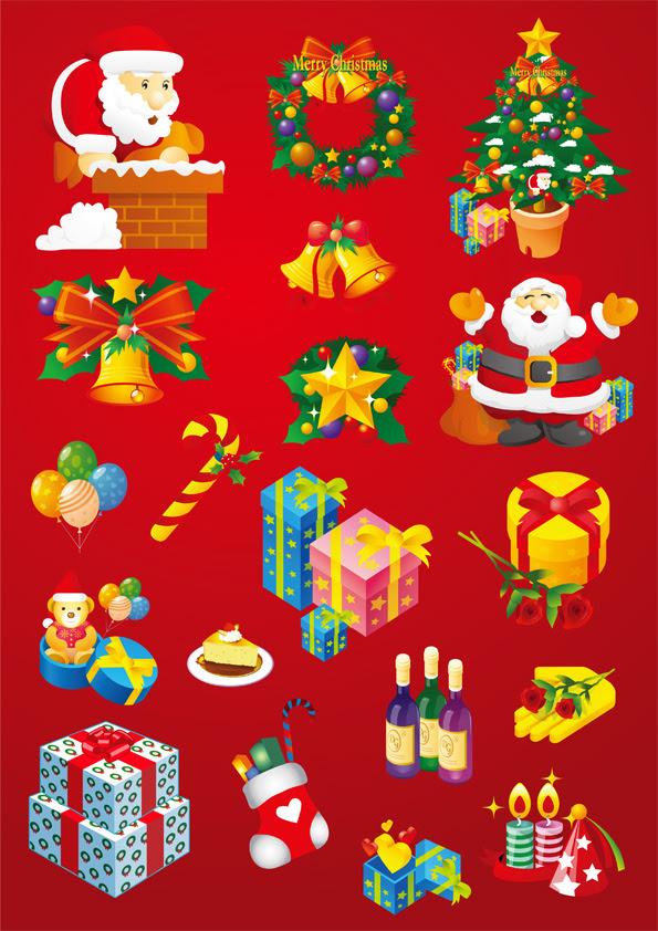 クリスマスのデザインエレメントセットの無料イラスト ベクター Ai