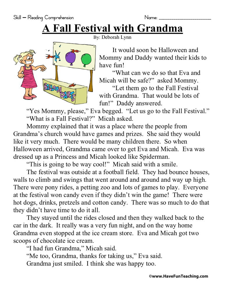 Reading Prehension Worksheet A Fall Festival With Grandma