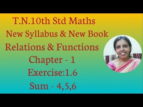 10th std Maths New Syllabus (T.N) 2019 - 2020 Relations & Functions Ex:1.6-4,5,6.