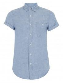Topman Blue Nep Chambray Short Sleeve Shirt