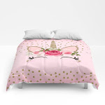 "Pink & Gold Cute Floral Unicorn Comforters by Christyne - Full: 79"" x 79"""