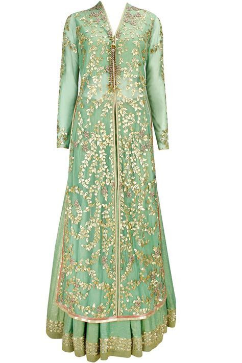 Sage green gota patti long jacket with foil lehenga and