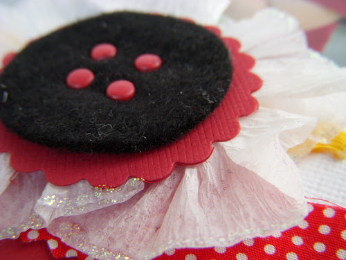 Crepe Paper Flower with Felt Button Center