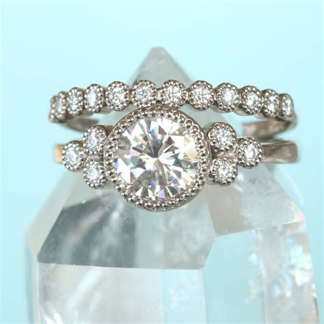Moissanite Cluster Engagement Ring by Lilia Nash